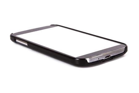 Slimme telefoon met een leeg, wit scherm, geïsoleerd op een witte achtergrond.