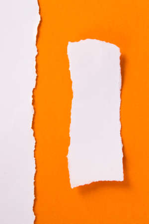 White torn piece of paper on orange background, ready for your message. Stock Photo - 22684649