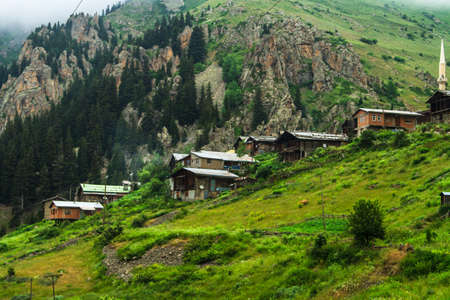 kackar: Old traditional mountain houses in Demirkapi Plateau, Kackar Mountains, Trabzon, Turkey.