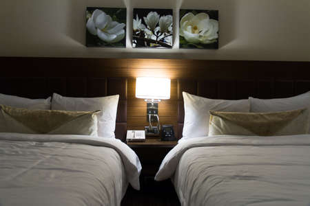 Interior of modern hotel bedroom and glowing light. Stock Photo - 22721436