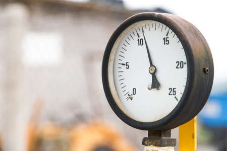 aneroid: Old barometer. Stock Photo