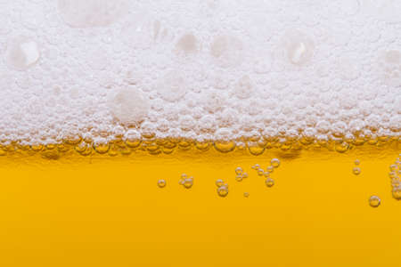 Close up, macro view of droplets, beer bubbles. photo