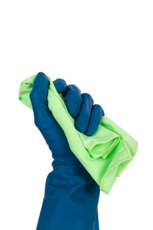 Hand in cleaning glove holding rag, isolated on white background. photo