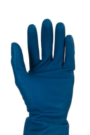 Blue cleaning glove, front view, isolated on white background. photo