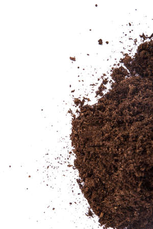Pile of soil, isolated on white background.