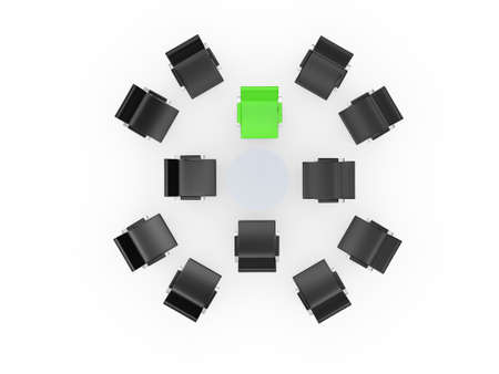 standing out from the crowd: Conference round table and office chairs with green standing out from crowd in meeting room, isolated on white . Stock Photo