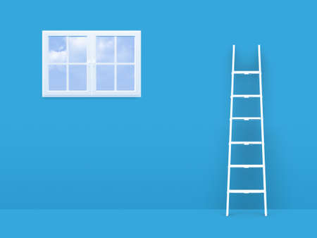 Failure concept, white ladder trying to reach freedom, window on blue room. photo