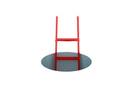 Red ladder standing in a hole, isolated on white .