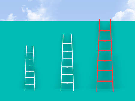 Ladders on wall front of cloudy sky.