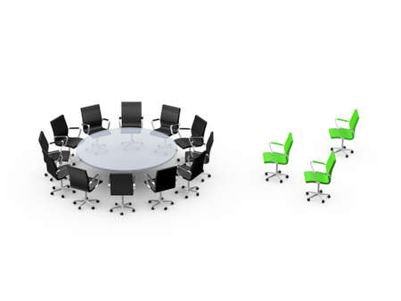 Conference round table and office chairs with standing out group in meeting room, isolated on white background. Stock Photo - 24712238