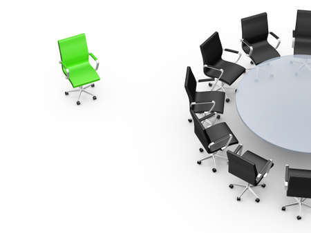 Conference round table and office chairs with standing out concept in meeting room, isolated on white background.