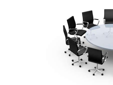 Conferentie ronde tafel en bureaustoelen met een kopie ruimte in de vergaderzaal, geïsoleerd op wit. Stockfoto