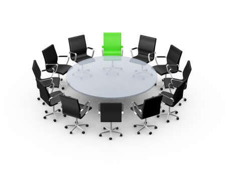 Conference round table and office chairs with copy space in meeting room, isolated on white . Stock Photo - 24712252