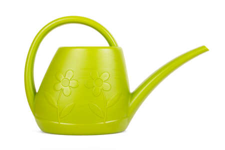 watering can: Green garden watering can, isolated on white .