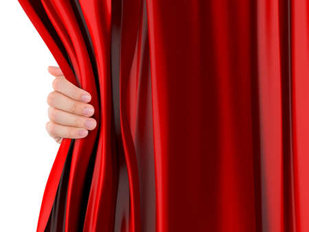 Hand opening red curtain, isolated on white . Stock Photo