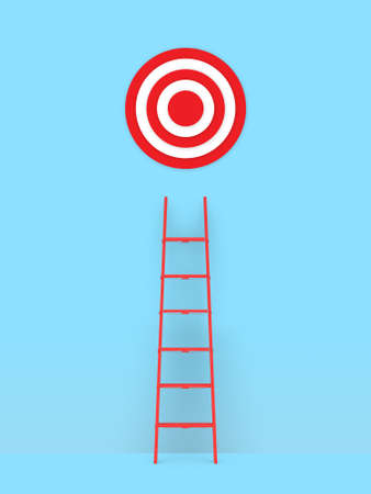 Business concept, red ladder leading to target.