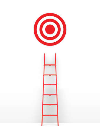 Business concept, red ladder leading to target, isolated on white .