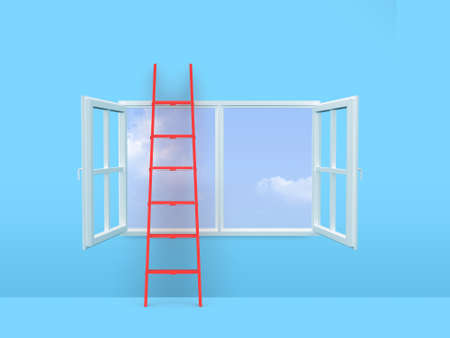 Red ladder on open window front of sky in blue room. photo