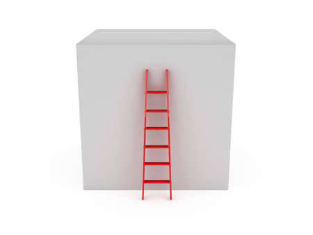 Red ladder near box to climb top of it, isolated on white . Stock Photo