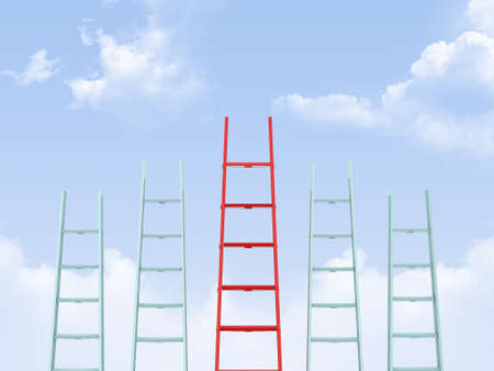 Success, leadership on business concept, red ladder standing out from the crowd on cloudy . Stock Photo