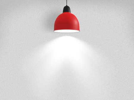빨간색 램프에 흰색 스포트 라이트와 함께 빈 벽.