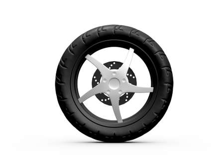 Single black tire of motorcycle, isolated on white .