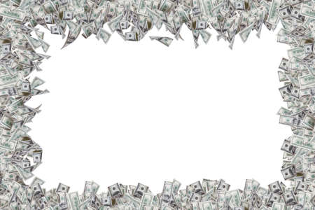 Border of one hundred dollar banknotes with copy space, isolated on white background. Stock Photo