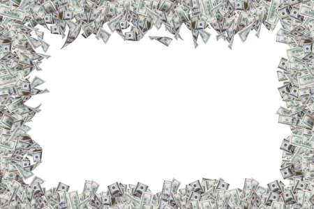 Grens van honderd dollar biljetten met een kopie ruimte, geïsoleerd op een witte achtergrond.