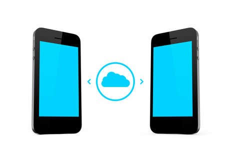 Cloud technology concept, smart phones with blank screen, isolated on white background. photo