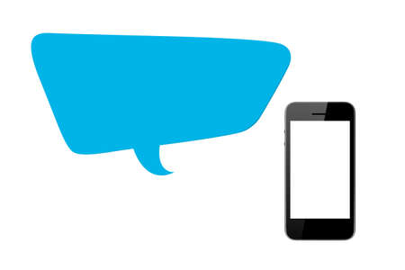 Communication technology concept, blue speech bubble with blank screen smart phone, front view, copy space, isolated on white background. photo