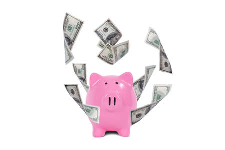 Saving finance concept, one hundred dollar money banknotes flying around pink piggy bank, isolated on white background. photo