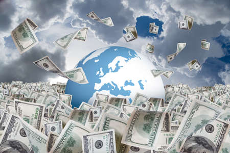One hundred dollar banknotes flying and falling on money farm and around earth globe, cloudy background. Stock Photo