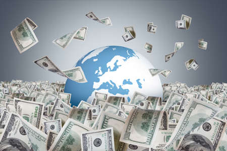One hundred dollar banknotes flying and falling on money farm and around earth globe, dark background.