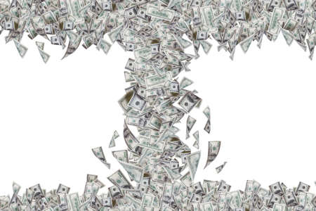 Wealth concept, one hundred dollar banknotes flying and falling down in tornado, isolated on white background.