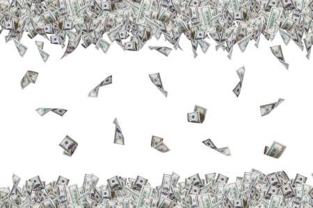 Groep van honderd dollar biljetten vliegen en vallen, op een witte achtergrond.