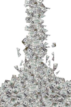 Honderd dollar biljetten vliegen en vallen, op een witte achtergrond.