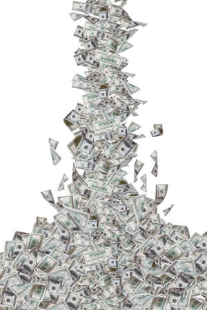 One hundred dollar banknotes flying and falling down, isolated on white background.