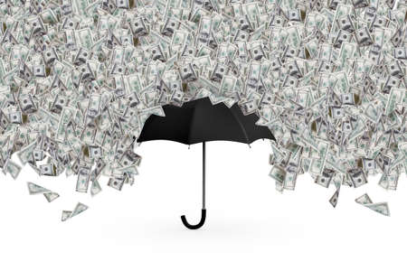 One hundred dollar banknotes flying and raining on black umbrella, isolated on white background. photo