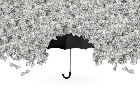 One hundred dollar banknotes flying and raining on black umbrella, isolated on white background.