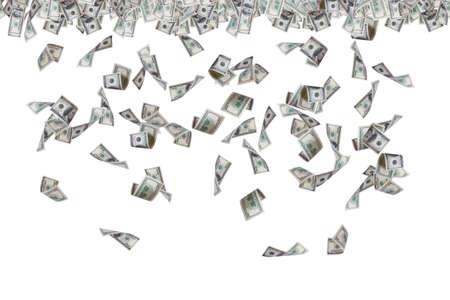 Concepto de las finanzas, los billetes de cien dólares que vuelan, llueven y caen abajo, aislado sobre fondo blanco.