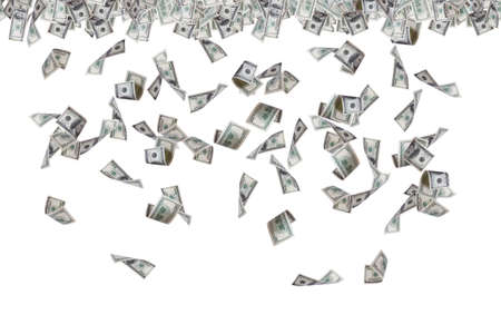 Finance concept, one hundred dollar banknotes flying, raining and falling down, isolated on white background.