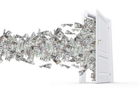 household money: One hundred dollar banknotes flying and streaming on windy air out of open real estate door, isolated on white background.