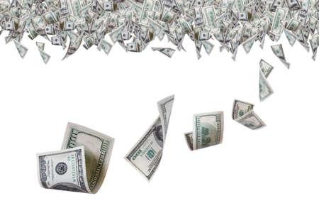 Honderd dollar biljetten vliegen boven op de grens, op een witte achtergrond. Stockfoto