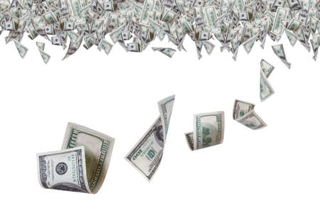 One hundred dollar banknotes flying on top border, isolated on white background. Stock Photo