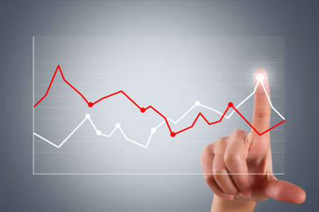 Business and finance concept, young female hand pointing and touching graph chart on digital screen. photo