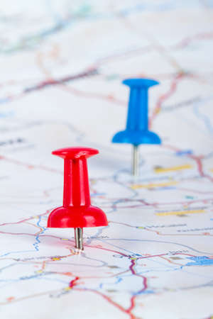 Red and blue pushpin showing and pointing the location of destination point on map Ankara, Turkey. photo