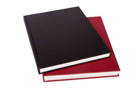 Stack of black and red books, isolated on white background. photo