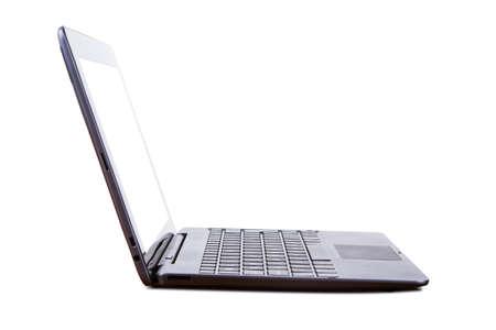 빈 화면, 측면보기, 흰색 배경에 고립 된 태블릿 노트북.