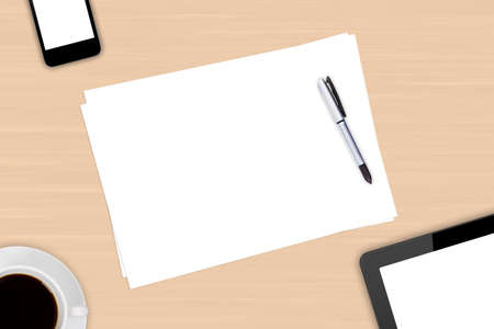 Top view of modern business workplace, digital tablet and smart phone with white blank empty screen, pen, cup of black coffee drink on wooden office table. photo