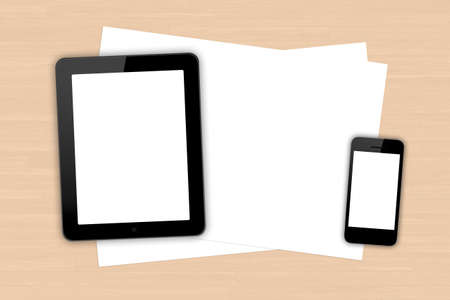 Top view of blank white screen smart phone, digital tablet and paper sheet on wooden table. photo